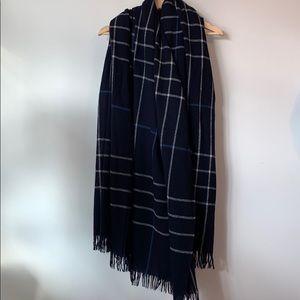 Rag & Bone Navy Plaid Wool Blanket Scarf